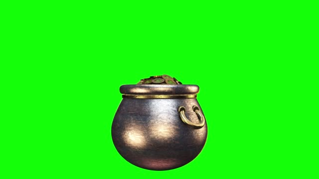 Shamrock. St. Patrick's Day symbols pot of gold background. Patrick Day coins with shamrock leaf. Patrick Day pub party. Alpha channel Shamrock. St. Patrick's Day symbols pot of gold background. Patrick Day coins with shamrock leaf. Patrick Day pub party. Alpha channel shamrock stock videos & royalty-free footage