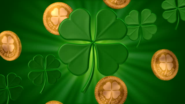 stockvideo's en b-roll-footage met shamrocks and gold #1 (seamless) - klavertje vier