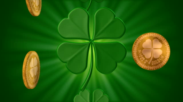 stockvideo's en b-roll-footage met shamrocks and gold #3 (seamless) - klavertje vier