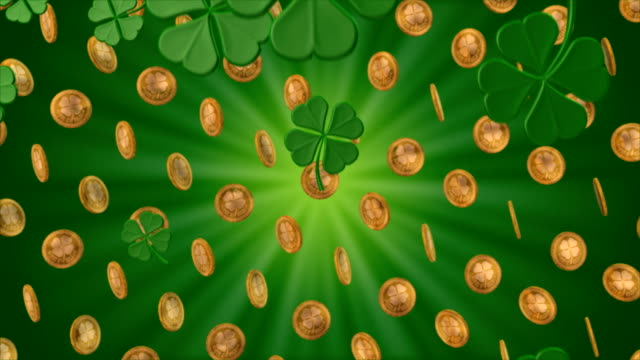 Shamrocks Snow and Spinning Gold Coins video