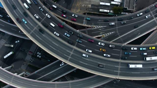 Shanghai aerial highway junction - video