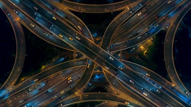 Shanghai aerial view in China Yananlu Road overpass bridge with traffic at night aerial view from drone in Shanghai, China. shanghai stock videos & royalty-free footage