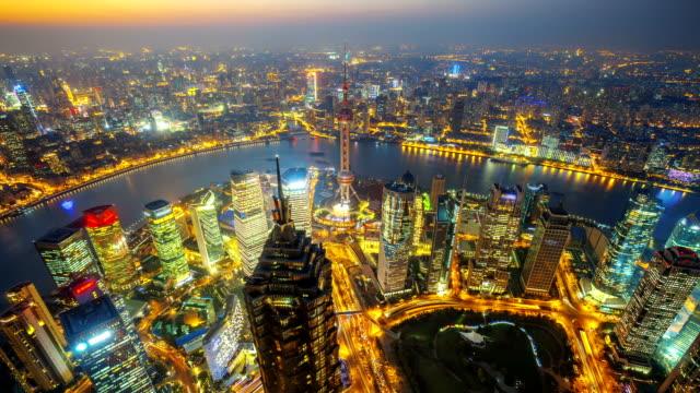Shanghai bei Nacht, Zeitraffer. – Video