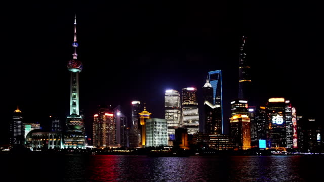 Shanghai at night with fireworks video