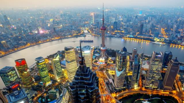 Shanghai, China. Day to Night, Panning Time-Lapse.