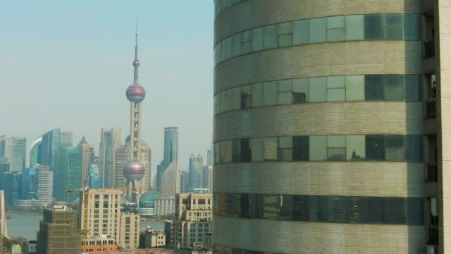 Shanghai City. Huangpu and Lujiazui District. Clear Sky. China. Aerial View