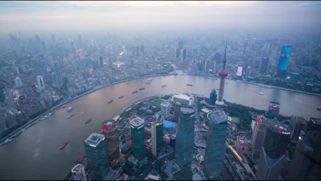shanghai city skyline  view Shanghai center eye bird view. china east asia stock videos & royalty-free footage