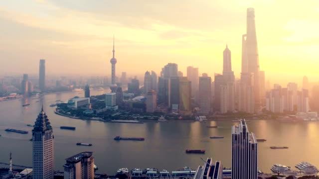 Shanghai Landmark morning aerial Shanghai Landmark morning aerial shot. shanghai stock videos & royalty-free footage