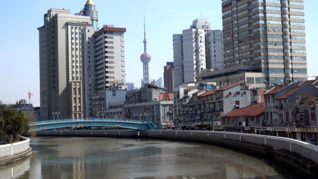 Shanghai Pearl Tower between residential buildings on Suzhou river.
