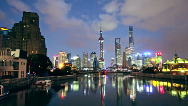 Shanghai Pudong at sunset in Shanghai, China. video