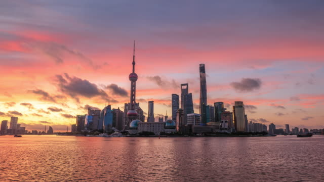shanghai skyline and modern buildings at sunrise - szanghaj filmów i materiałów b-roll