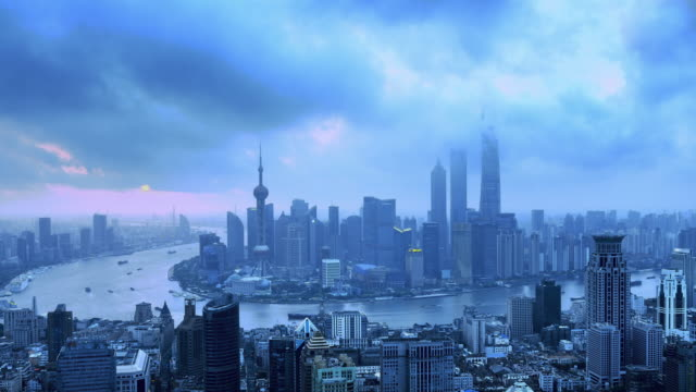Shanghai Skyline from Dawn to Day, Time lapse, Zoom In video