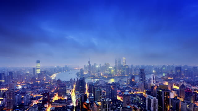 Shanghai Skyline from Day to Night, Time lapse video