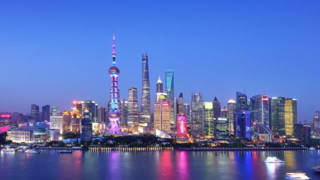 Shanghai Skyline from Sunset to Night video