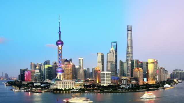 Shanghai Skyline In Dramatic Sky from Day to Night video