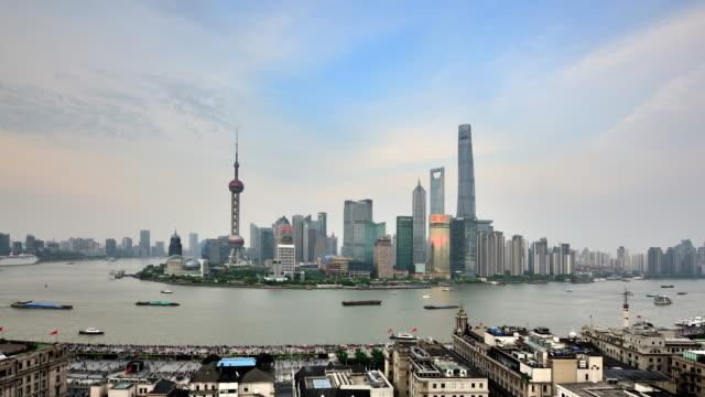 Shanghai Skyline Panoramic from Sunset to Night video