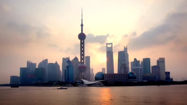 Shanghai Skyline Sunrise Timelapse of Shanghai skyline at sunrise shanghai stock videos & royalty-free footage