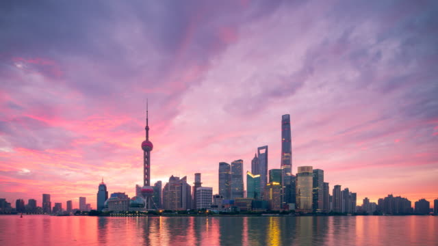 Shanghai Skyline Sunrise Shanghai, Urban Skyline, The Bund, City, Asia shanghai stock videos & royalty-free footage