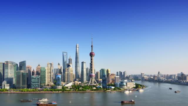 Shanghai Skyline (Time-lapse, Zoom) video