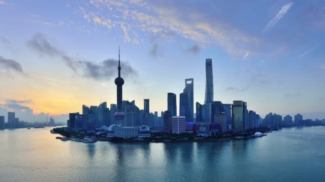 4K: Shanghai Skyline View at Sunrise to Day Time Lapse, China Shanghai skyline view at sunrise to day time lapse, China. shanghai stock videos & royalty-free footage