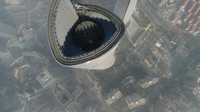 vídeos de stock e filmes b-roll de shanghai skyline view - torre estrutura construída