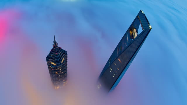 4k: shanghai skyscraper on stratosphere cloud, china. - d'atmosfera video stock e b–roll