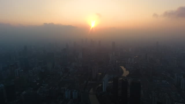 Shanghai skyscrapers from adove view