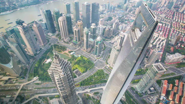 shanghai tallest bulidings pan timelapse Shanghai center eye bird view.Two tall buildings. china east asia stock videos & royalty-free footage