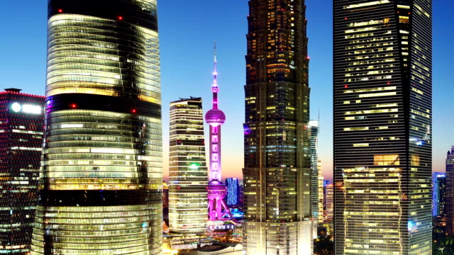 Shanghai's Lujiazui Financial District at Day to Night Time Lapse, China