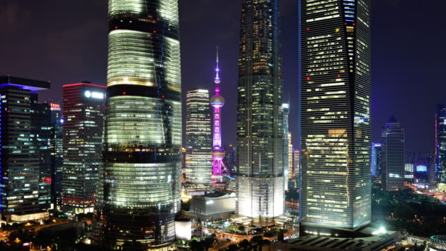 4K: Shanghai's Lujiazui Financial District at Night video