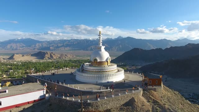 Shanti Stupa. Shanti Stupa is a Buddhist white-domed stupa on a hilltop in Chanspa, Leh district, Ladakh, in the north Indian state of Jammu and Kashmir. buddhism stock videos & royalty-free footage