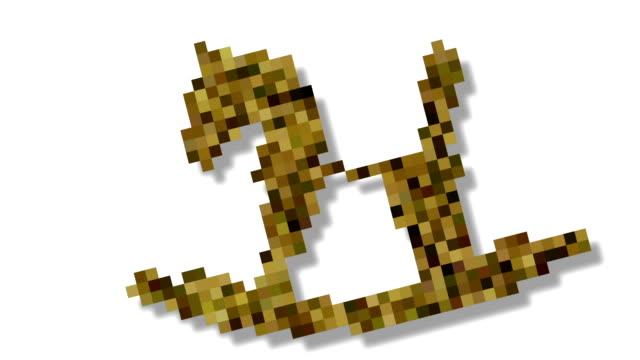 form morphing - dynamische voxel 3d visualisierung von kind spielzeug holzpferd - kind isometric stock-videos und b-roll-filmmaterial
