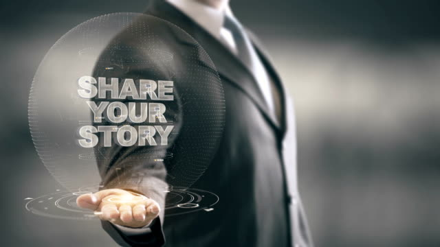 Share Your Story with hologram businessman concept video