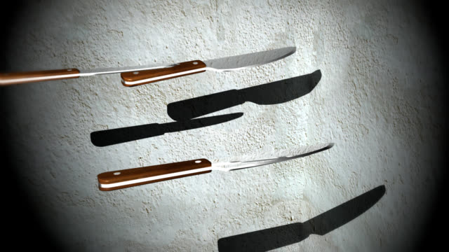 Sharp kitchen knives hit a target video