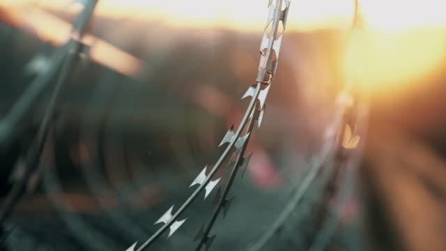 vídeos y material grabado en eventos de stock de r/f agudo afeitadoras en el concertina cable - valla límite