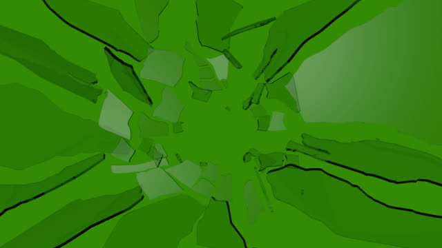 Shattered Glass Slow Motion on Green Screen
