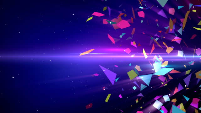 shattering colorful 3d shapes with slow motion animation - abstract stok videoları ve detay görüntü çekimi