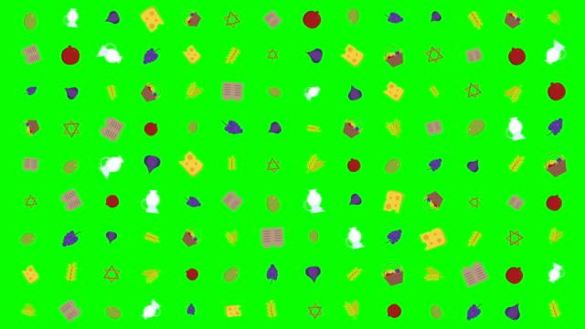 シャブオット休日フラット デザインの伝統的なシンボルとアニメーション背景 - ぶどう イラスト点の映像素材/bロール