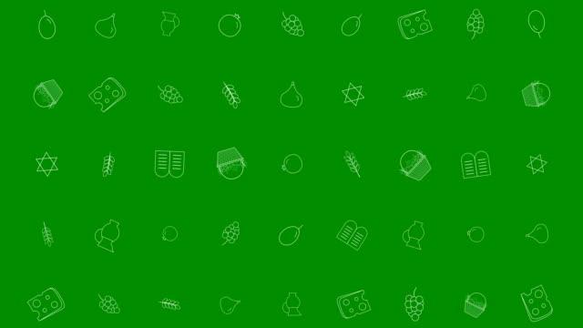 シャブオット休日フラット デザインの伝統的なアウトラインのアイコンとアニメーション背景 - ぶどう イラスト点の映像素材/bロール