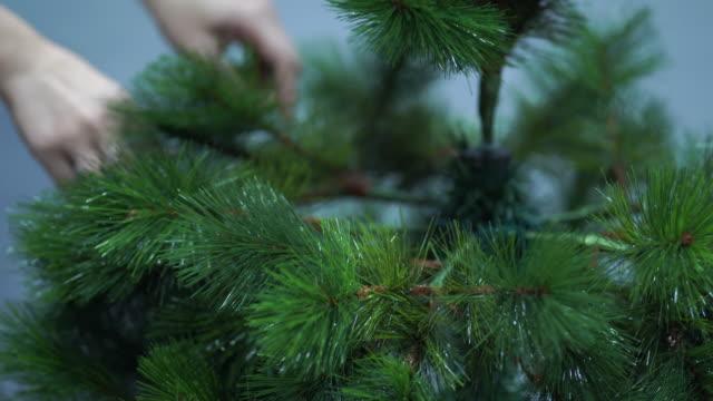 她正在裝飾聖誕樹。 - 人造的 個影片檔及 b 捲影像