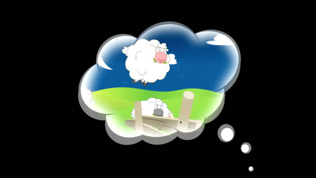 Sheep jumping over a fence in a dream cloud - 4K