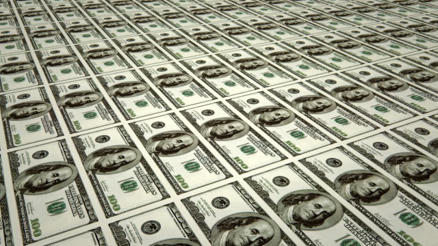 Sheet of $100 bills / printing dollar bills (loopable) video