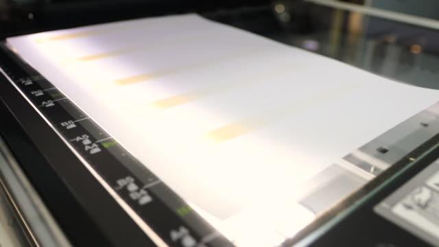 vídeos y material grabado en eventos de stock de hoja de papel que se está escaneando en un dispositivo de escaneo y copia - escáner plano