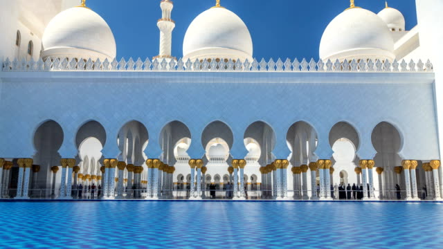 sheikh zayed grand mosque timelapse in abu dhabi, the capital city of united arab emirates - dubai architecture stock videos & royalty-free footage