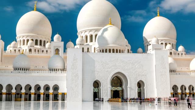 シェイクザイードグランドモスクのタイムラプスに位置する首都、アブダビ(アラブ首長国連邦 - モスク点の映像素材/bロール