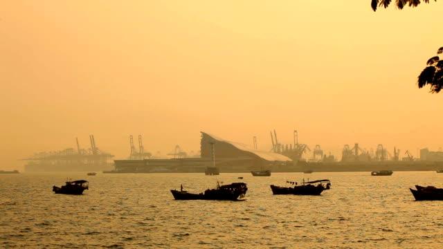 Shekou - Chiwan cargo port at afternoon; Shenzhen, China video