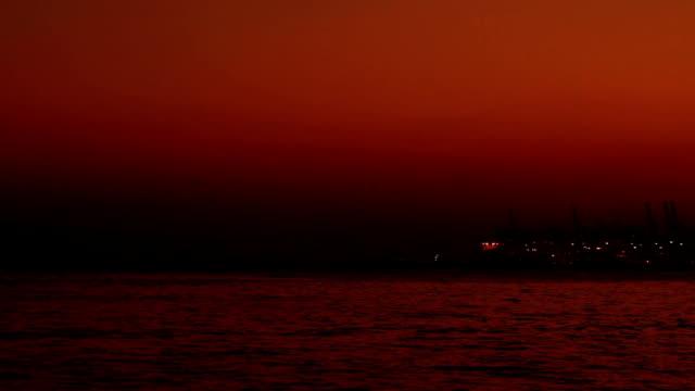 Shekou - Chiwan cargo port at night in Shenzhen, China video