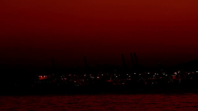 Shekou - Chiwan cargo port at night Shenzhen, China video
