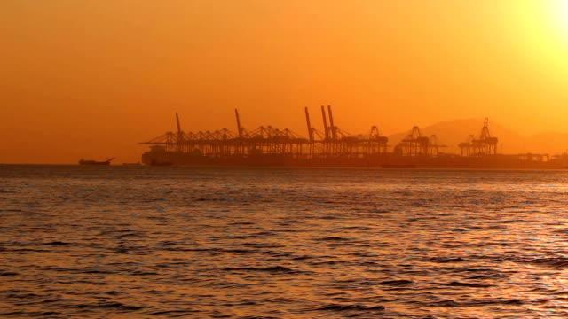 Shekou - Chiwan cargo port at sunset; Shenzhen, China video