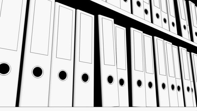 scaffale pieno di cartelle dell'ufficio. vista ad angolo basso, animazione di sketch fullhd senza soluzione di continuità - full hd format video stock e b–roll
